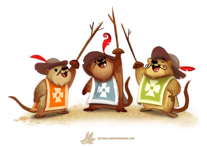 Daily Paint #1241. The Three Muskrateers by Cryptid-Creations.deviantart.com on @DeviantArt