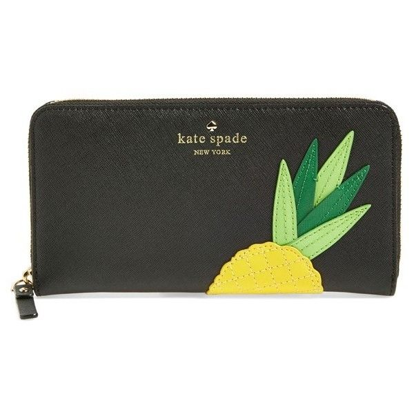 kate spade new york 'wing it - lacey' zip around wallet (6,355 THB) ❤ liked on Polyvore featuring bags, wallets, pineapple, genuine leather wallet, pocket wallet, kate spade, wing bags and real leather wallet