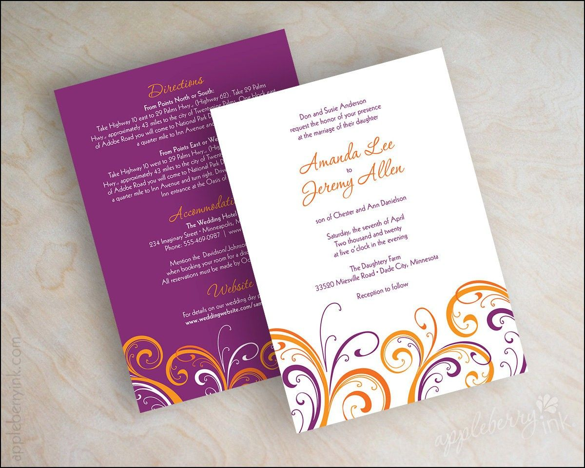 Plum and orange Wedding Invitations Wedding Ideas Pinterest