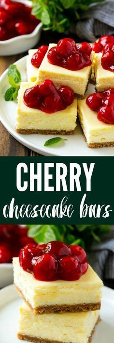 These Cherry Cheesecake Bars are the perfect make-ahead dessert for any occasion! Creamy cheesecake sits atop a homemade graham cracker crust and is finished off with a generous helping of cherries. #homemadegrahamcrackercrust These Cherry Cheesecake Bars are the perfect make-ahead dessert for any occasion! Creamy cheesecake sits atop a homemade graham cracker crust and is finished off with a generous helping of cherries. #homemadegrahamcrackercrust These Cherry Cheesecake Bars are the perfect m #homemadegrahamcrackercrust