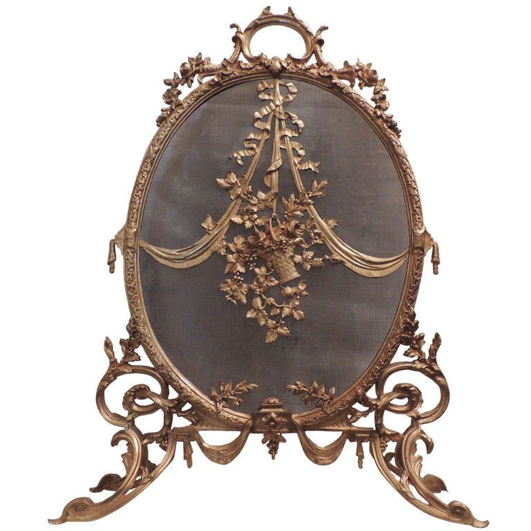 An Exquisite French Ormolu Mounted Oval Dore Bronze Fire ...