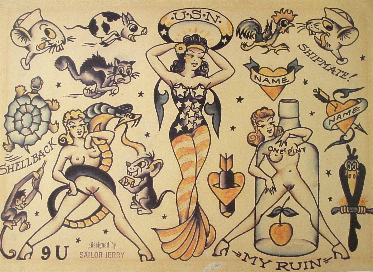 Sailor Jerry Tattoo Flash (10 Sheets): Eagles, Daggers, Cowgirls ...