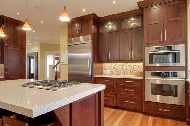 Best granite countertops for cherry cabinets the for Cherry and white kitchen cabinets