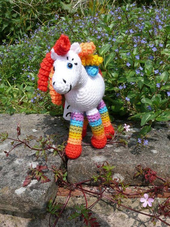 Hippolyta the White Rainbow Horse Crochet soft toy