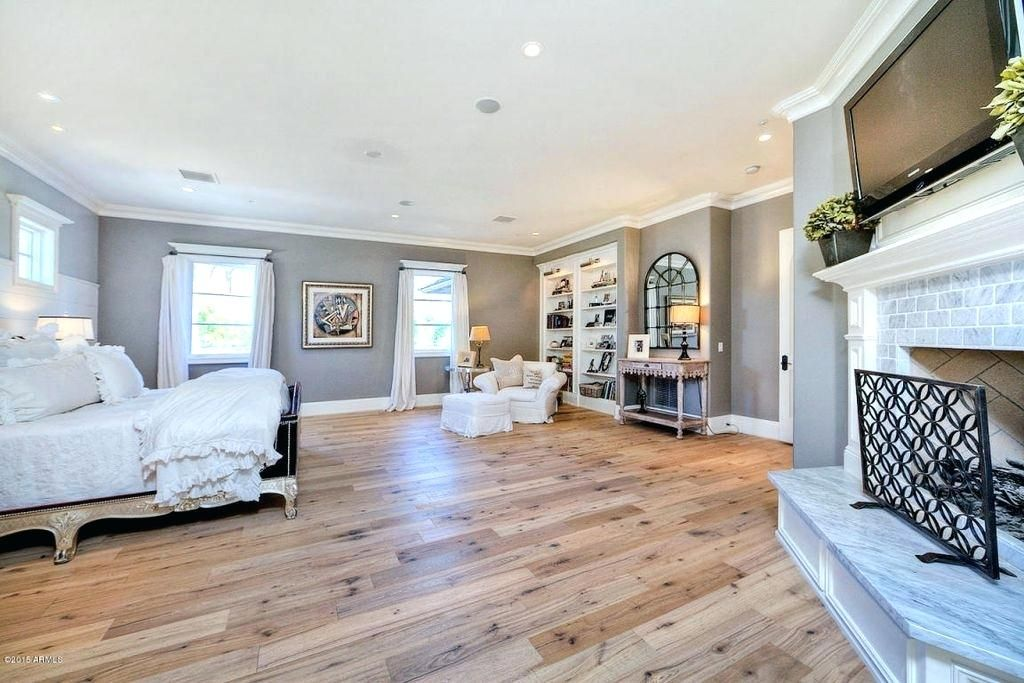 Hardwood Floor Bedroom Traditional Master Bedroom With French