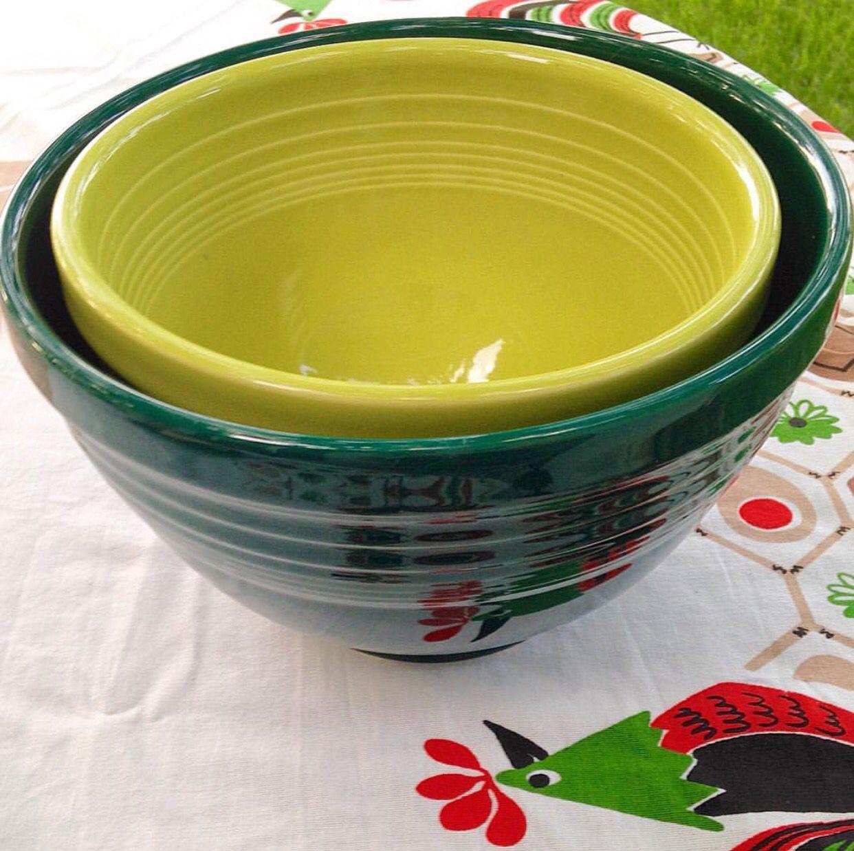 Fiesta lemongrass large prep bowl and evergreen small baking bowl ...
