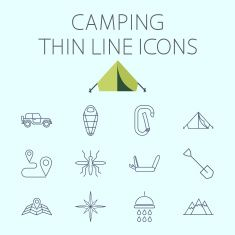 Camping related flat vector icon set vector art illustration