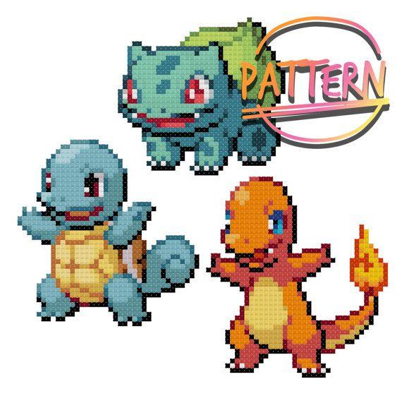 Color PDF Bulbasaur, Squirtle, Charmander Custom Gaming Cross Stitch Pattern Pokemon Generation 1 Starter Evolutions
