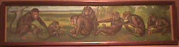 RARE ORIGINAL YARD LONG PRINT - FAMILY OF MONKEYS - 1904 CHROMOLITHO #ANTIQUE