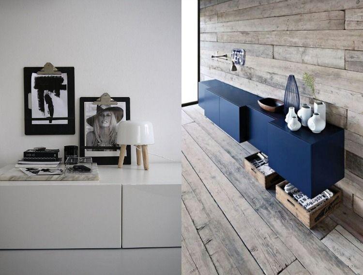 GroB Ikea Besta Regal Aufbewahrungssystem Modern Deko Blau Weiss