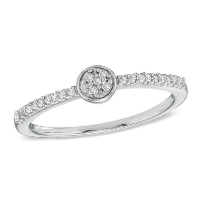 Zales 1/8 CT. T.w. Diamond Cluster Promise Ring in 10K Rose Gold 21JBszP1
