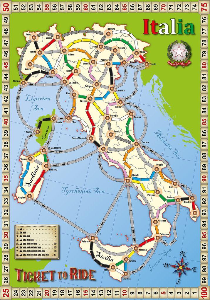 Ticket to Ride Fan Map Italia Ticket to ride, Fun board