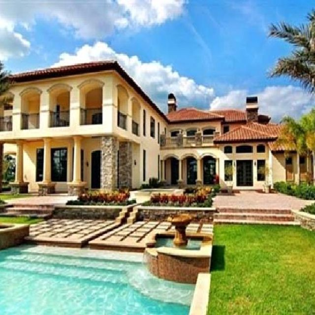 15 Phenomenal Mediterranean Exterior Designs Of Luxury Estates: Mediterranean Tuscan Home Exterior Pool Side