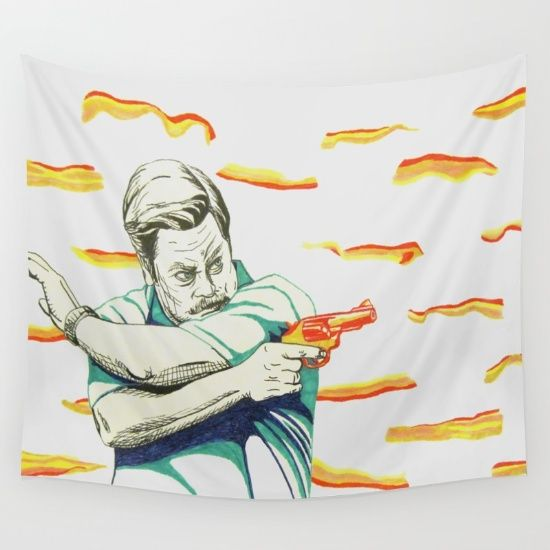 15% off plus #freeshipping on all #walltapestry on #society6!  #ronswanson #nickofferman #celebrity #bacon #wallart #homedecor #art