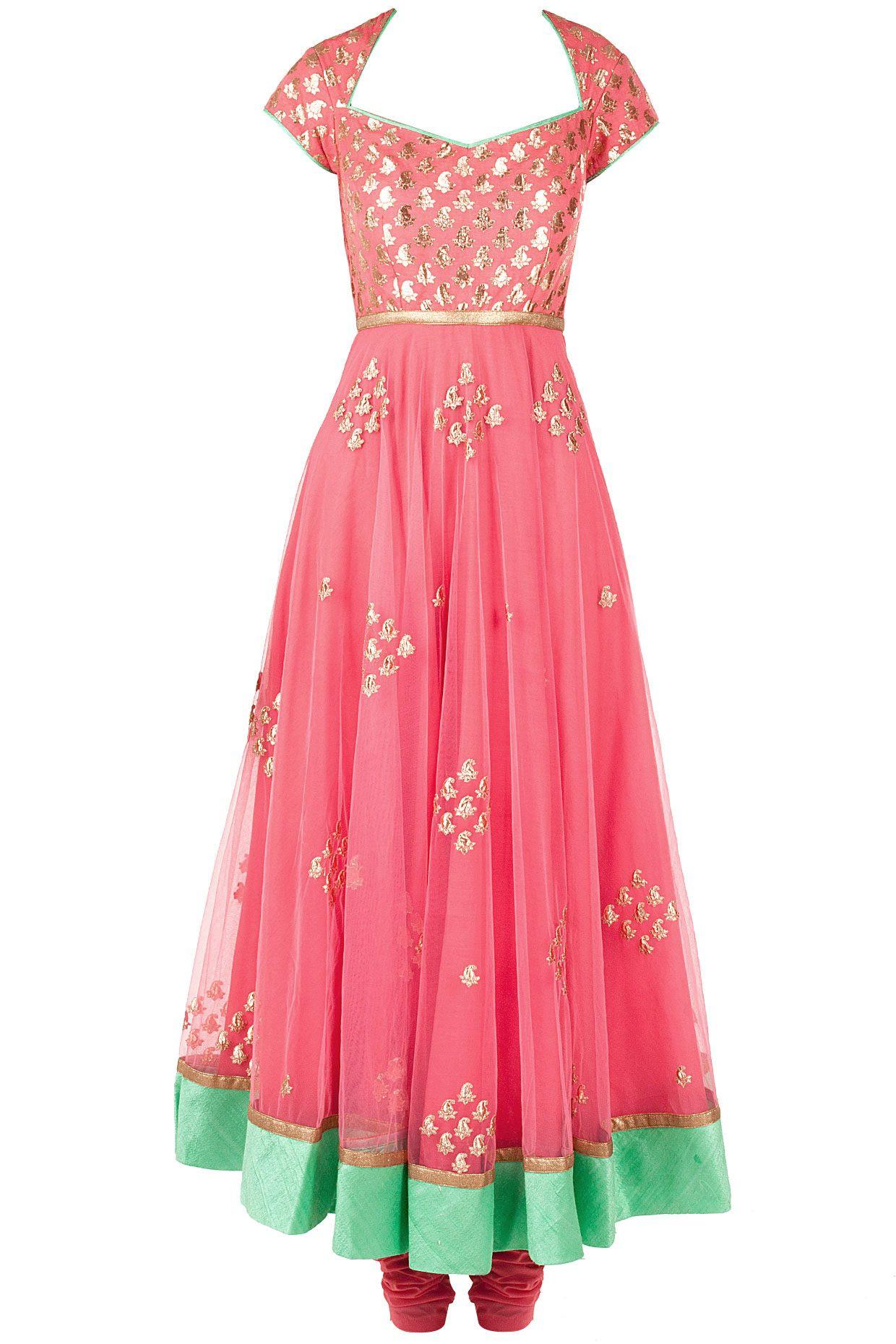 Pink and green chanderi brocade anarkali kurta set available only at