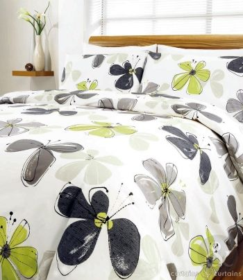 Lime Green Fresca Contemporary Floral Printed Duvet Cover Lime Green Bedrooms Green Bedding Set Green Bedding