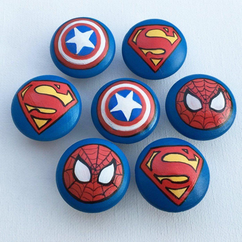 Superhero Drawer Pulls / large / Dresser Knobs / Closet Handles / Hand Painted for Boys, Kids, Nursery Rooms