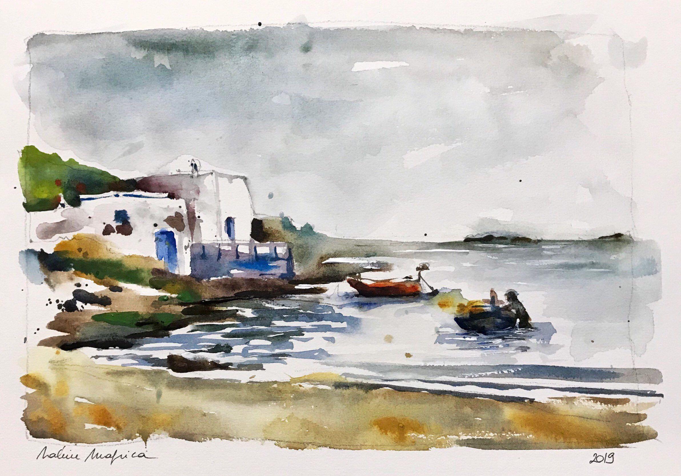 Aquarelle Peinture Originale Bord De Mer Le Soir A Kythira