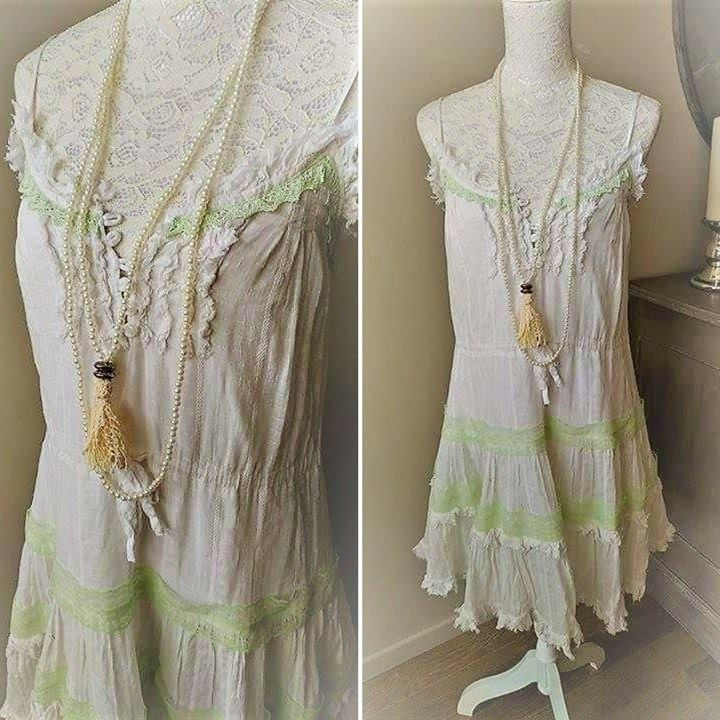 Bohemian white dress, vintage cotton and lace. Dress with straps ...