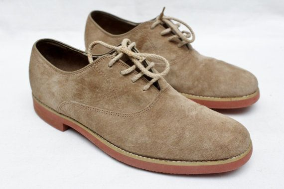 Rare 80 S Vintage Hush Puppies Tan Suede Etsy Suede Oxfords Mens Suede Oxfords Tan Suede