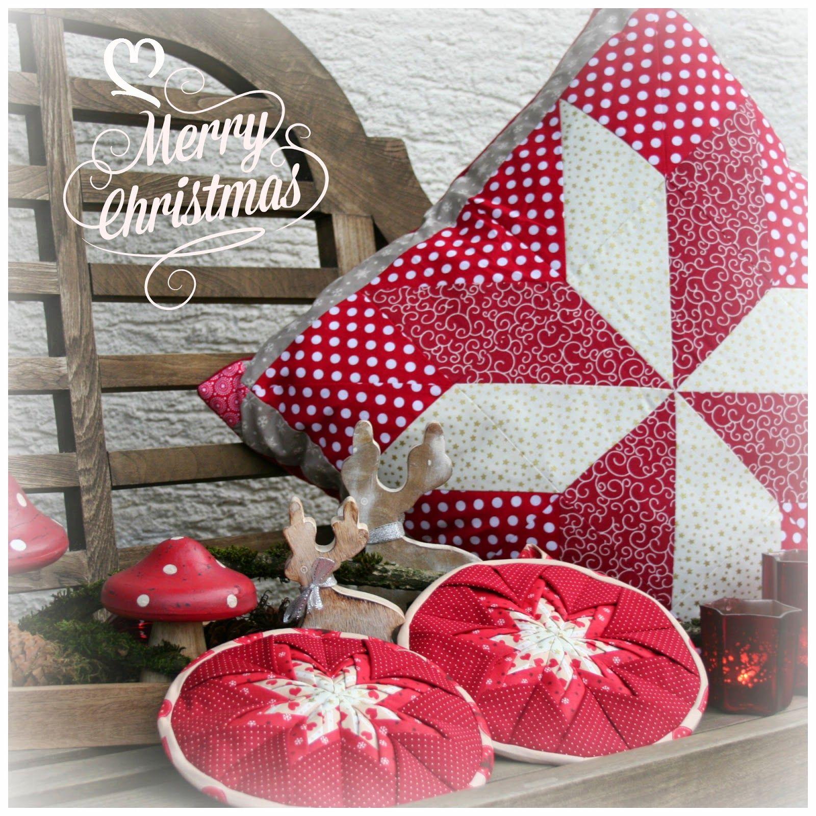Wonderful tutorial for amish folded star christmas potholders and
