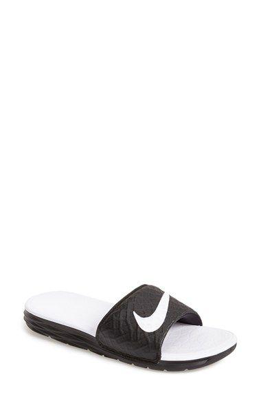 Womens Nike Benassi Solarsoft Slide Sandal Black/White