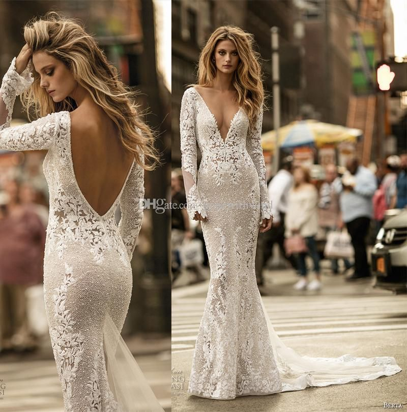 2017 Berta Bridal Long Sleeves Lace Sheatch Wedding Dresses Deep V