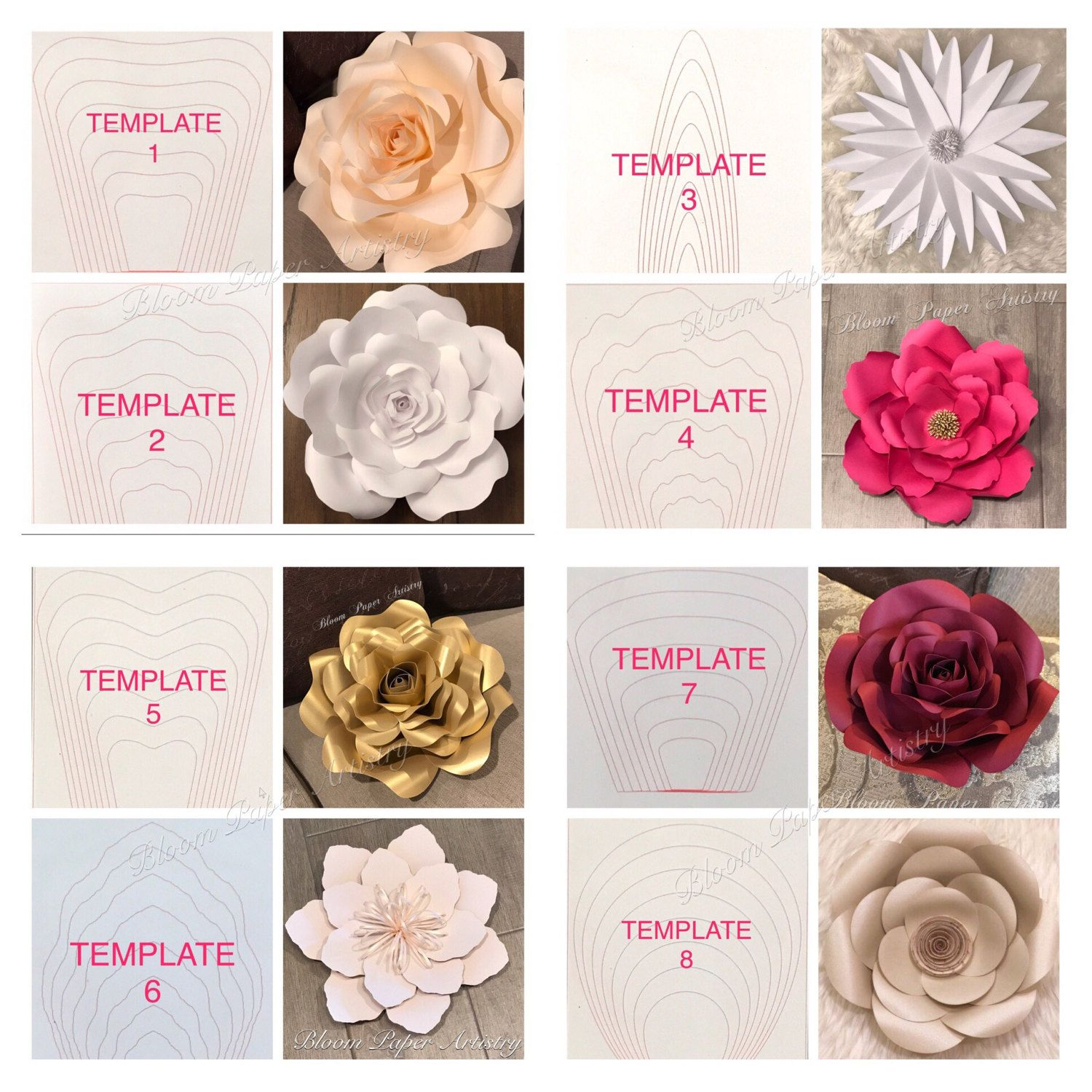 Details per template all paper flower templates for Diy will template