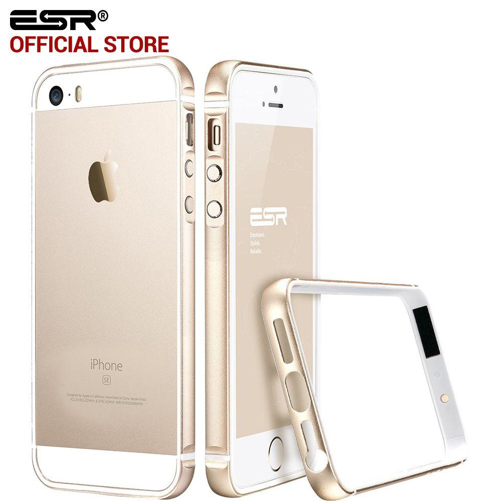 Case per iphone 5 s/se, esr struttura in metallo ultra sottile telaio in lega di alluminio del respingente molle case per iphone se/5/5 s