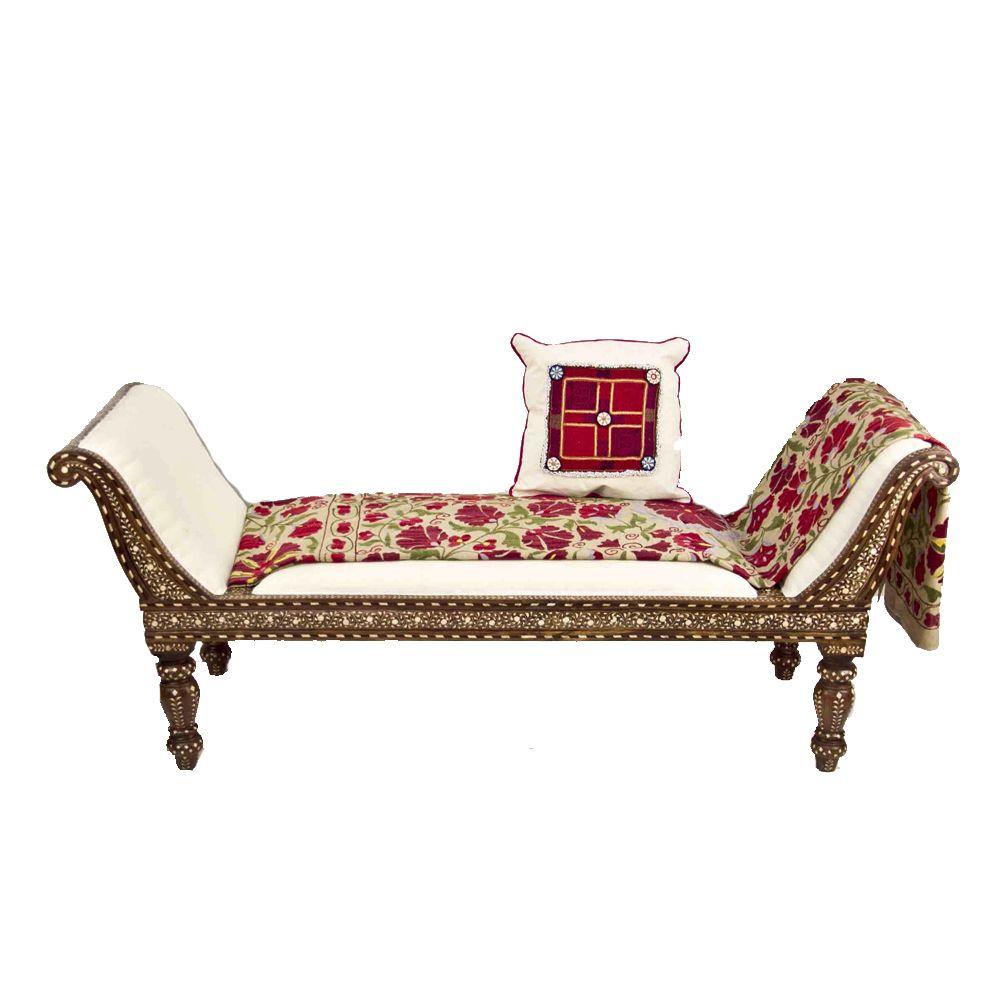 Intricate Bone Inlaid Chaise Lounge Vintage Suzani Throw