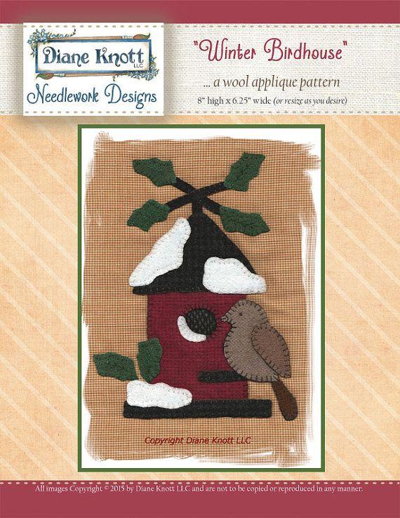 Winter Birdhouse Wool Applique Pattern by DianeKnottLLC on Etsy