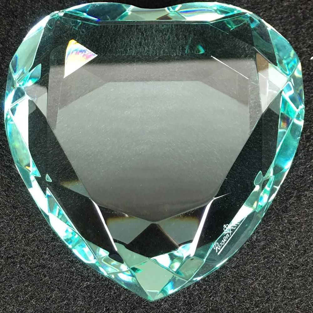 6d245e2e4e6f Rosenthal Turquoise Crystal Heart Paperweight With The Original Box ...