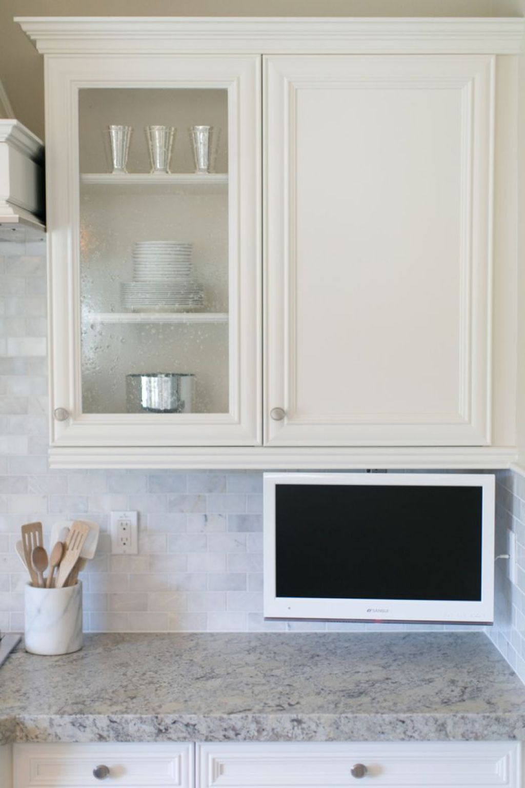 Kitchen With LCD TV Under Cabinets | Kitchen tv, TVs and Kitchens