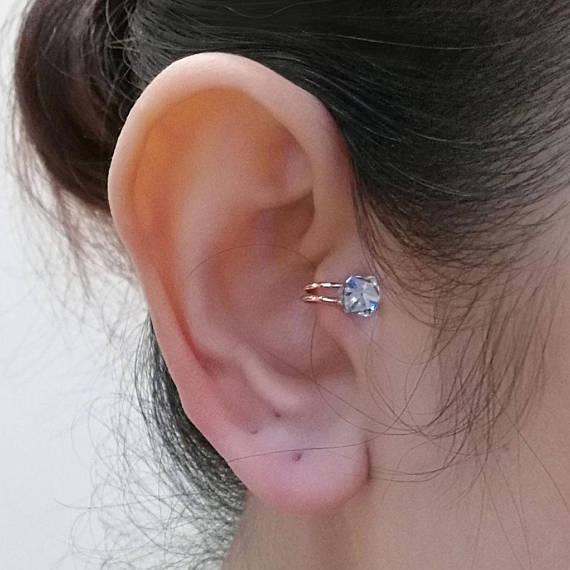 116f0fe0e Tragus earring,Diamond white Swarovski crystal, Rose gold plated, Cartilage  earrings, ear cuffs no p
