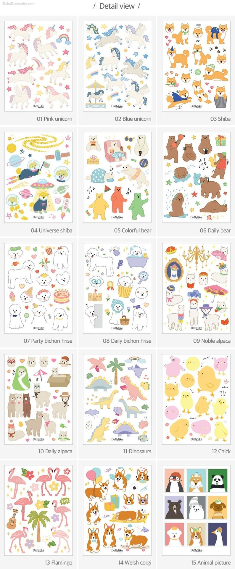 Planner Stickers 01-30 / 4sheets / Uncut Stickers / | Etsy