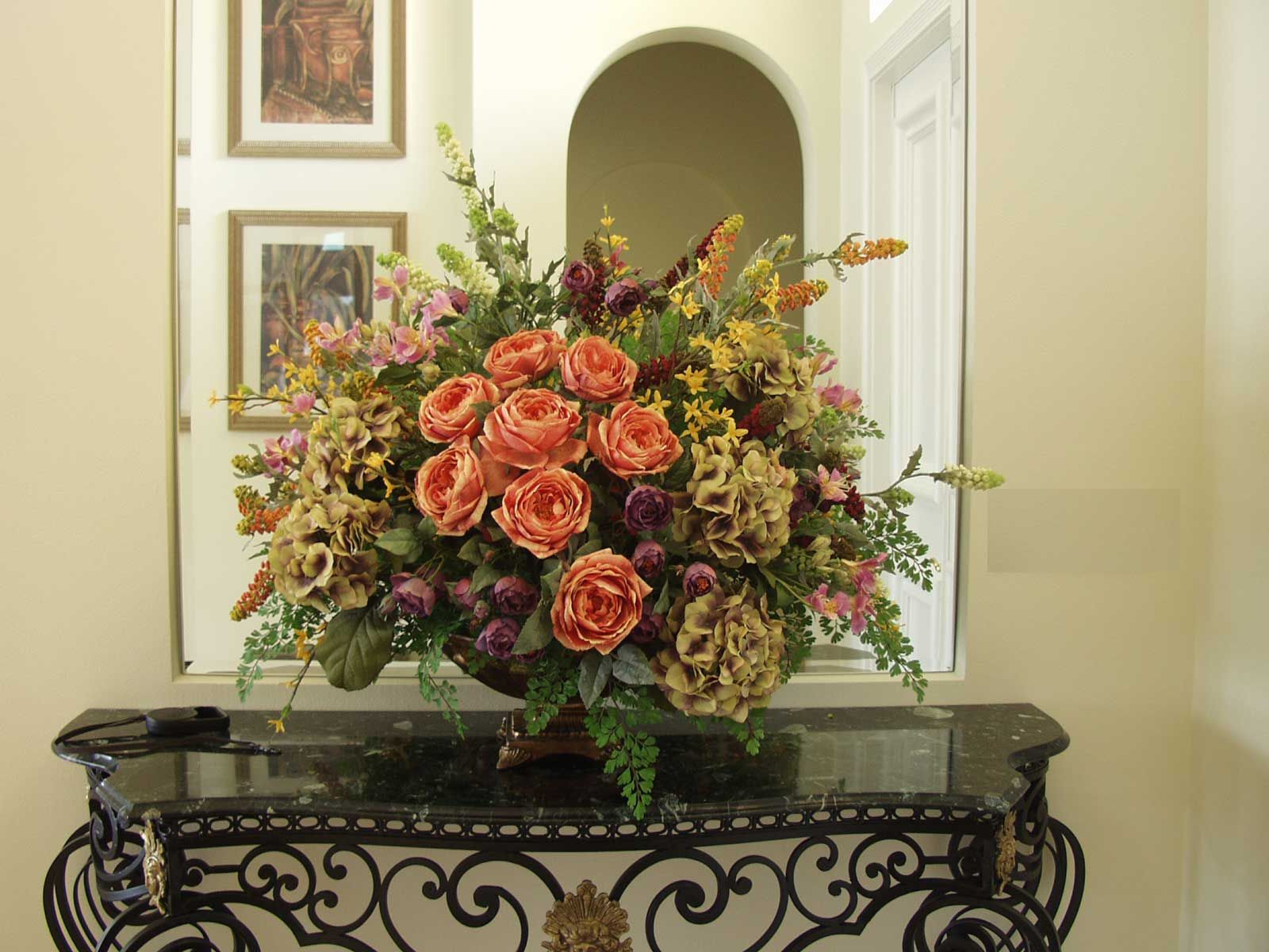Dinning Room Dining Table Silk Flower Arrangements Unique