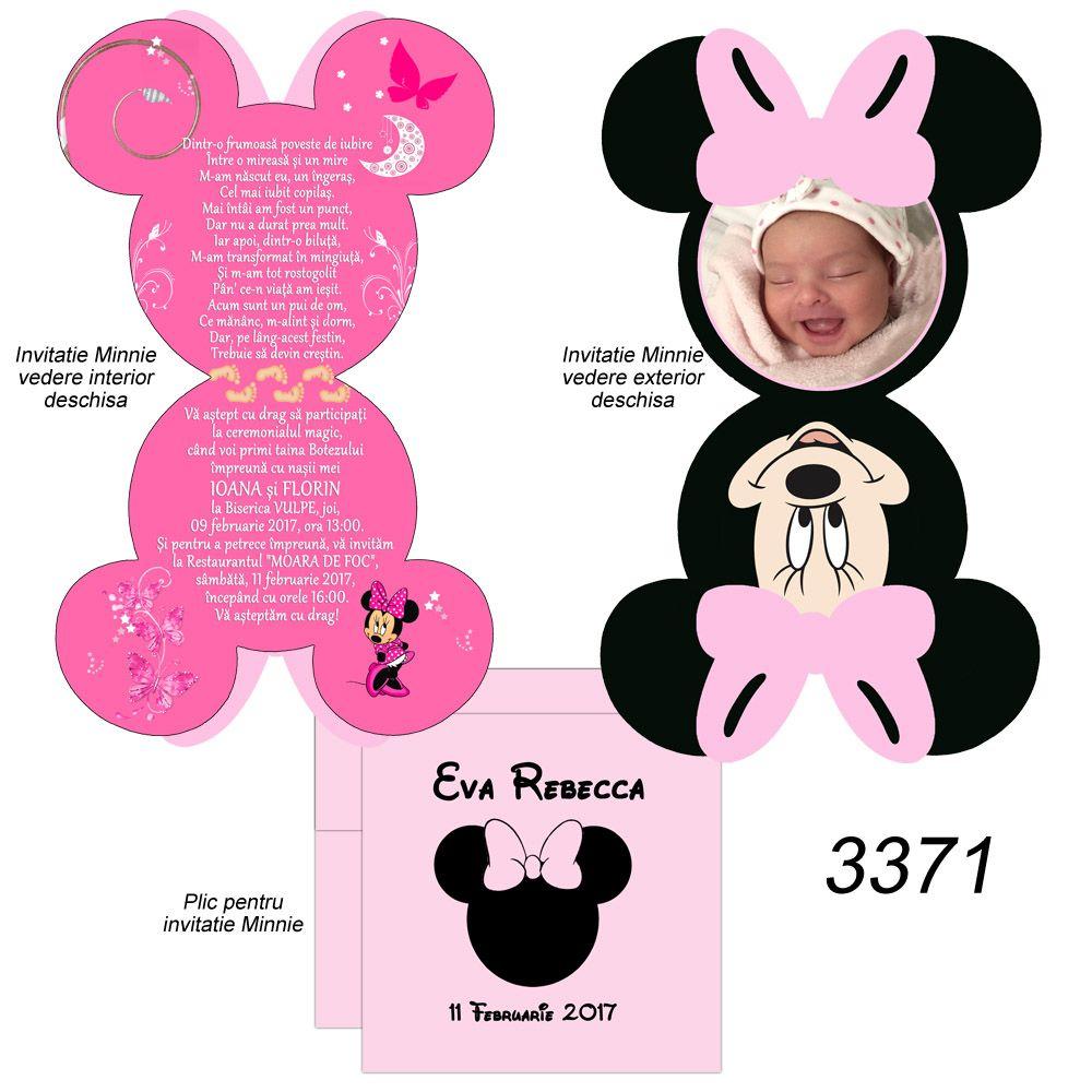 Invitatii Botez Minnie Mickey Mouse Invitatie Forma Mickey Minnie