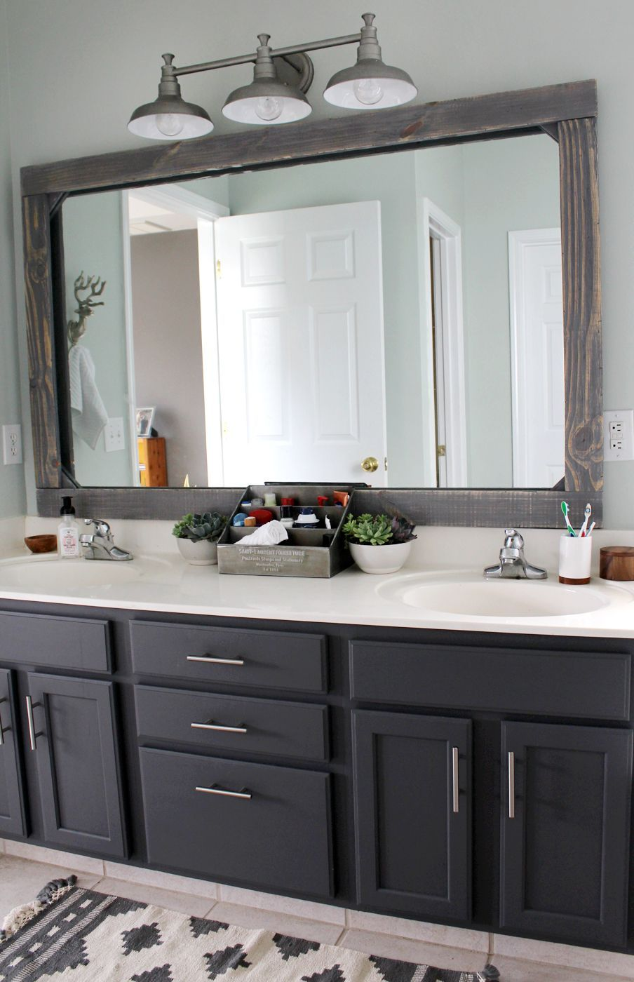 Bathroom Mirror Ideas Modern Farmhouse Bath Decor With Raw Wood Frame And Black Cabinets