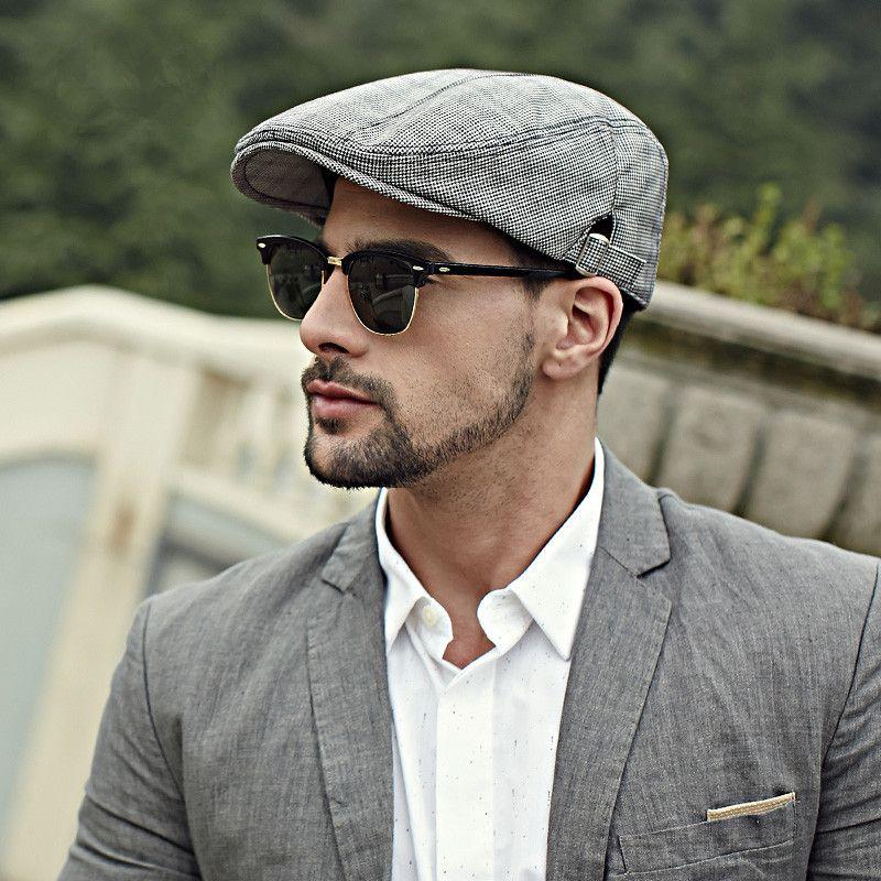 Houndstooth flat cap for men British style  afca72d20c3