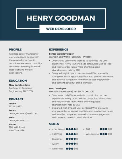 Dark Blue Professional Resume Traditional Accountant Resume