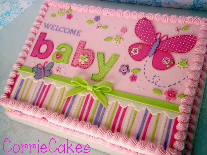 Girl Baby Shower Cakes With Images Baby Shower Sheet Cakes