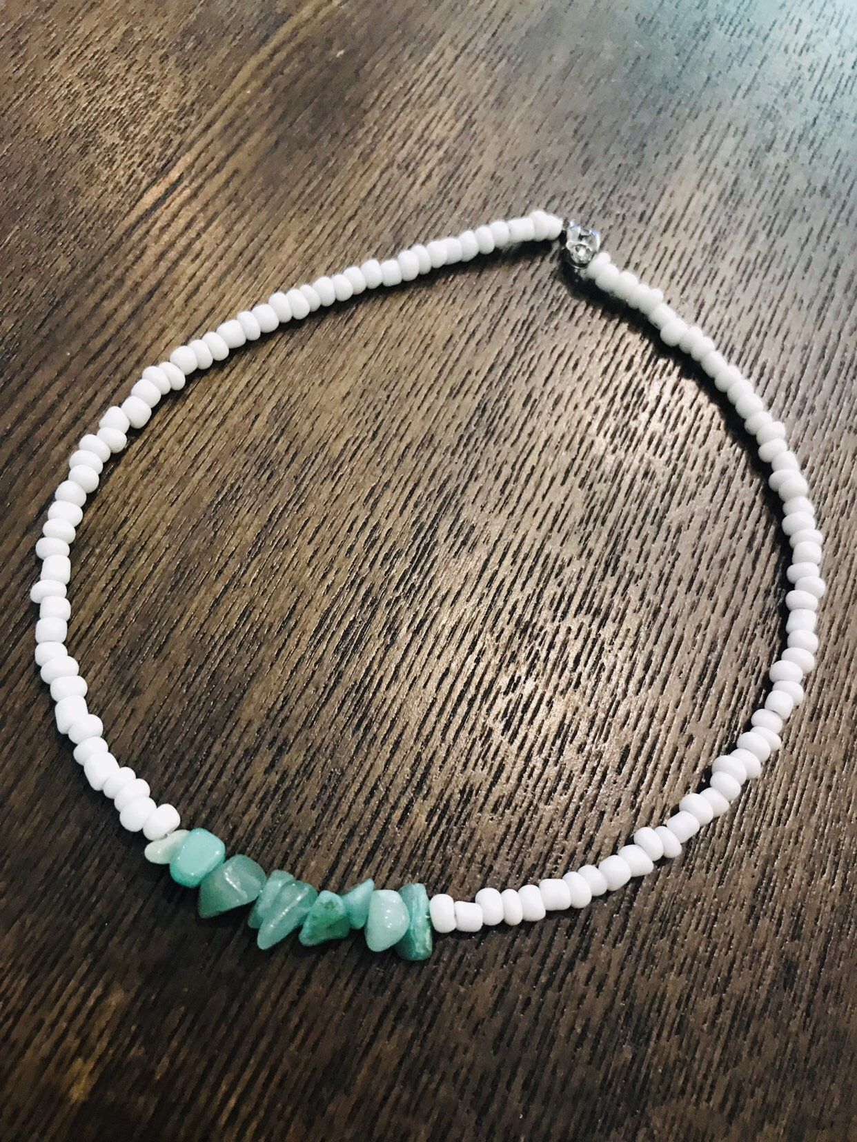 Photo of Boho trendy beaded necklace-white-green chip   Etsy