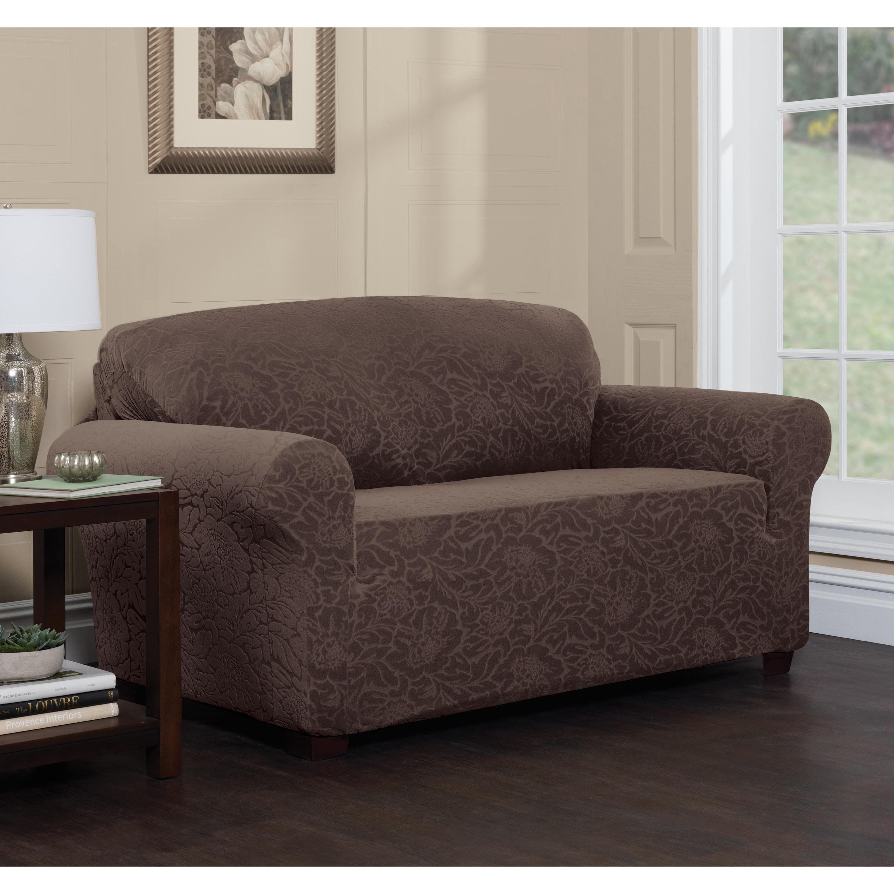 Stretch Sensations Stretch Floral Loveseat Slipcover (Brown   Polyester    Machine Wash   Floral