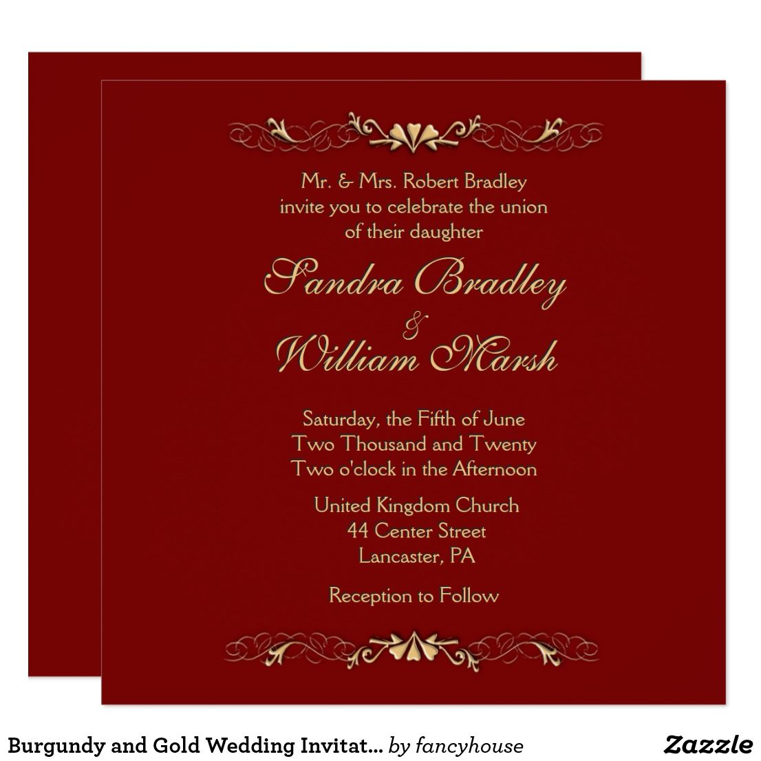 Burgundy and Gold Wedding Invitation | Gold weddings and Weddings