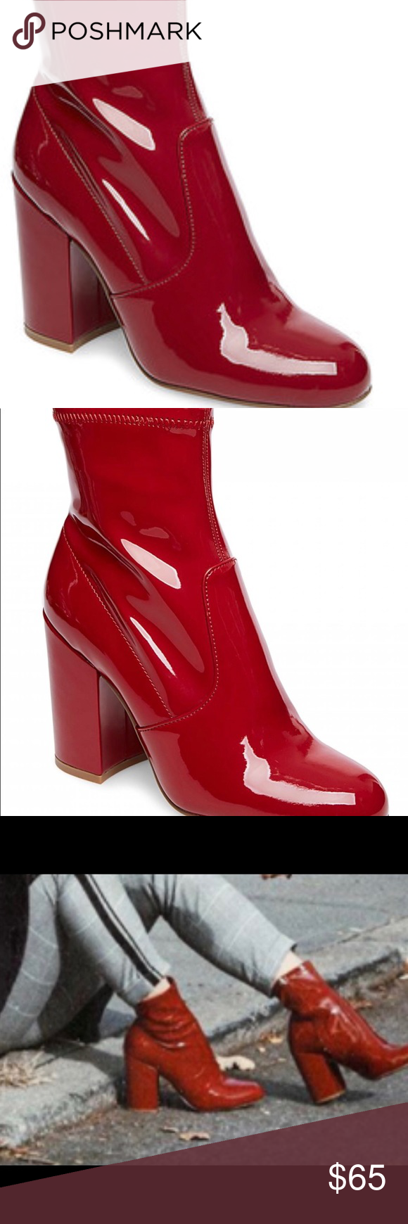 78e529a872a NWT STEVE MADDEN RED PATENT BOOT A flattering bootie that styles ...