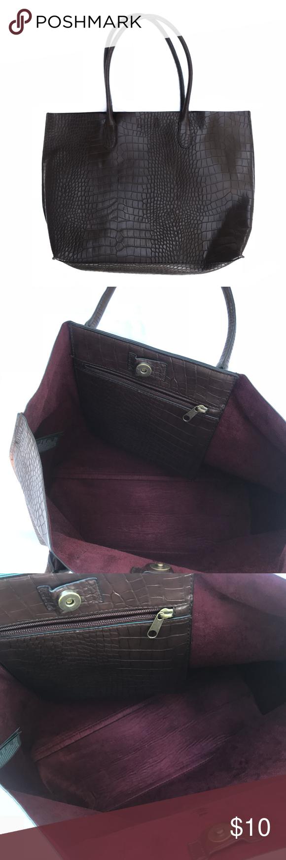 H M Brown Snake Skin Tote Shopper Bag H M Brown Snake Skin Tote Shopper Bag  in faux e213bec724