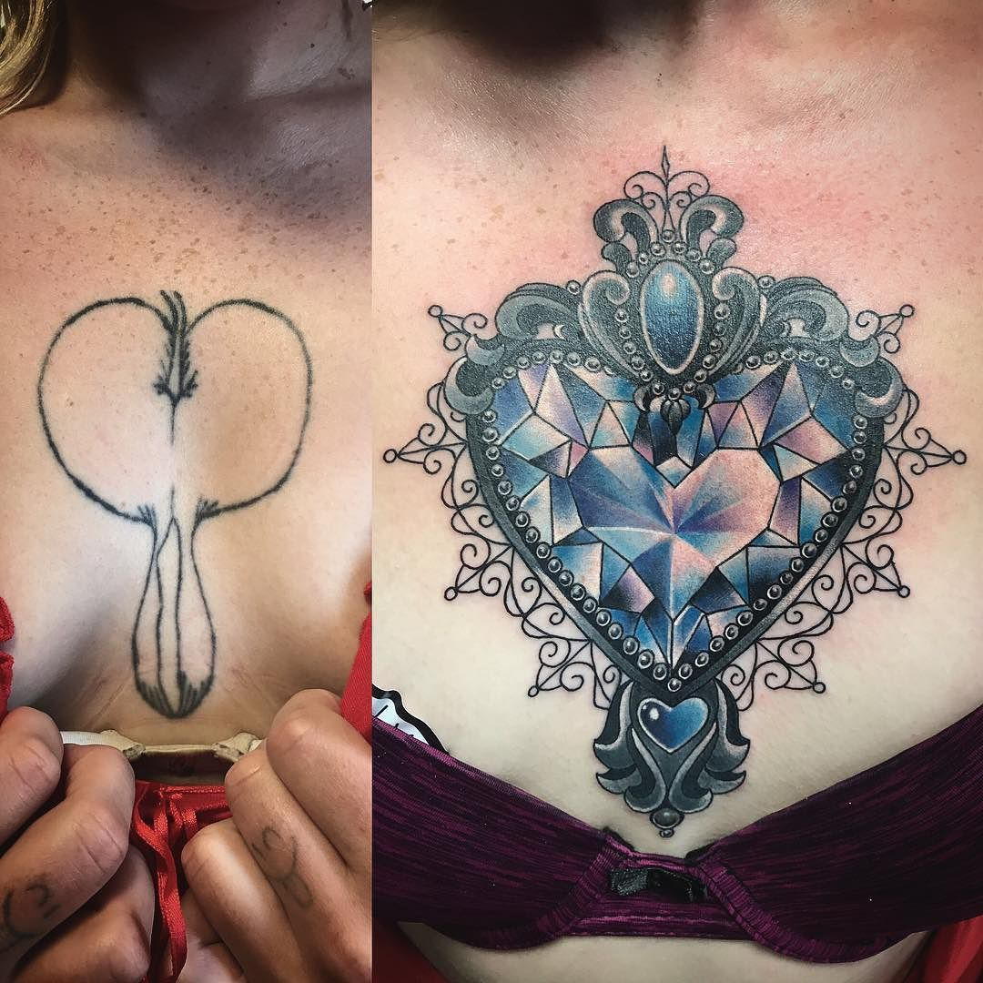 Before And After Chest Cover Up Tried To Make It As Small As Possible So We Don T Have To Do Ful Cover Up Tattoos Tattoos For Women Cover Up Tattoos For