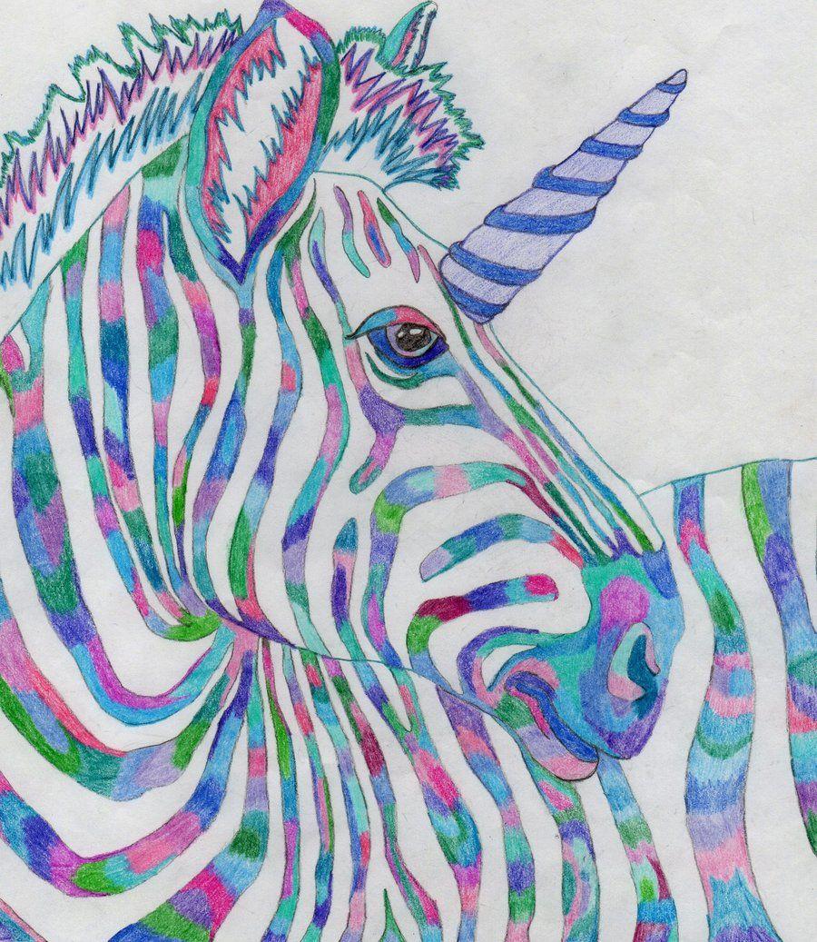 unicorn deviantart Rainbow Zebra Unicorn by GothicNight