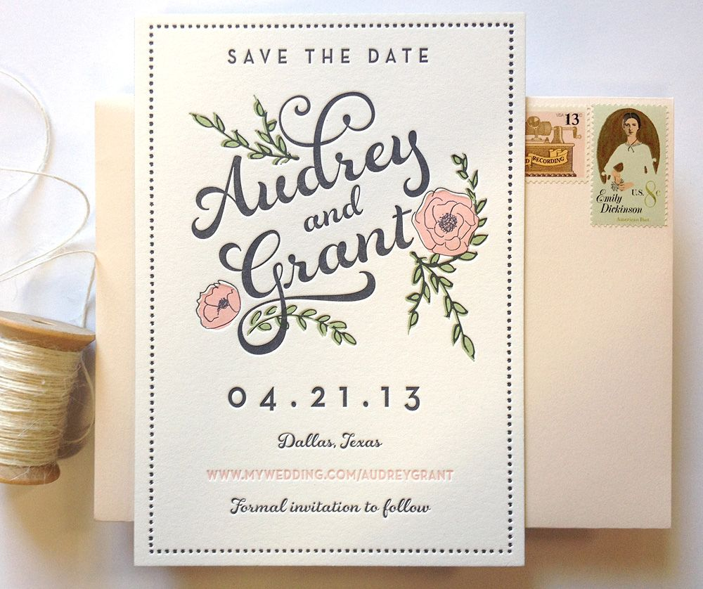 Southern Fried Paper Typography Wedding InvitationsWedding
