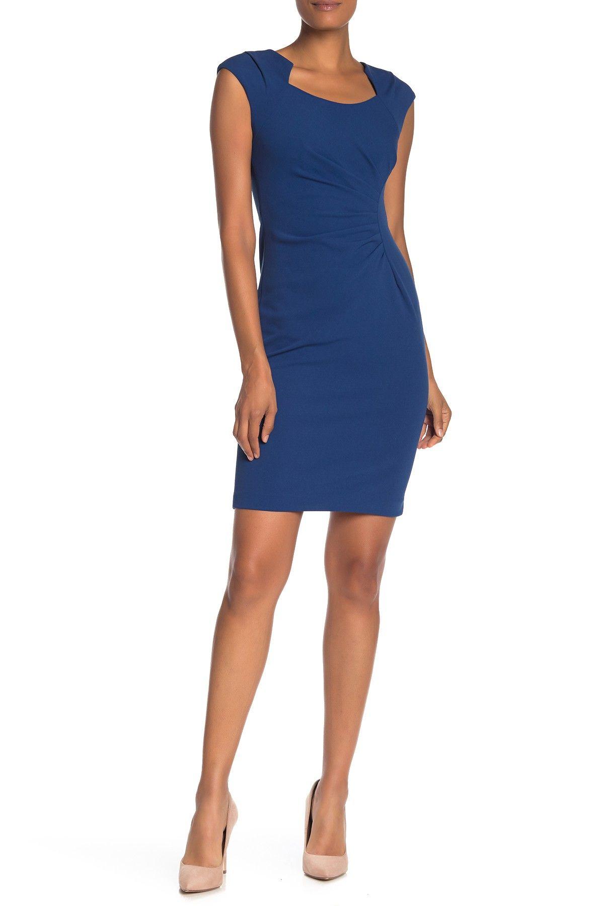 Calvin Klein | Solid Ruched Crepe Sheath Dress | Nordstrom Rack #nordstromrack